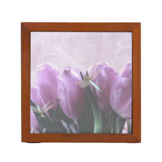 Purple Tulips Aqua Dragonflies Desk Organiser