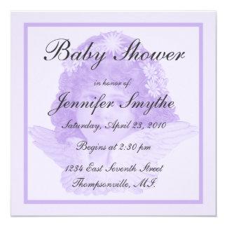 Purple Victorian Angel Baby Shower Invitation