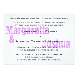Purple Vintage Brick Graffiti Wedding Invitation