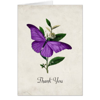 Purple Vintage Butterfly Wedding Thank You Card