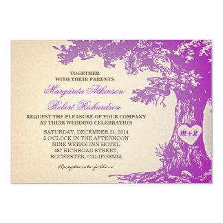 purple vintage old oak tree wedding invitations