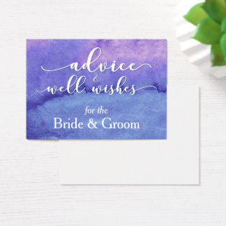 "Purple Watercolor ""Advice for the Bride & Groom"" Business Card"