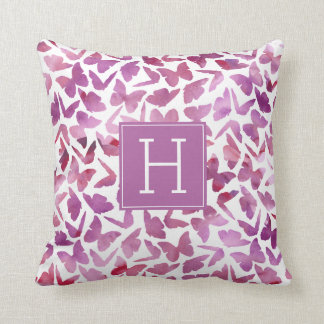 Purple Watercolor Butterflies Monogrammed Throw Pillow
