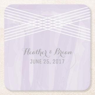 Purple Watercolor Deco Wedding Square Paper Coaster