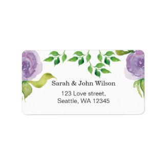 Purple watercolor floral address label