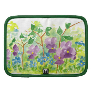 Purple Watercolor Flower Spring Garden Art Folio Folio Planners
