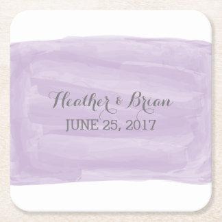 Purple Watercolor Wedding Paper Coasters