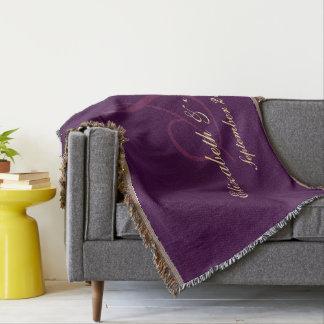 Purple Wedding Anniversary Couple Newlywed Elegant Throw Blanket