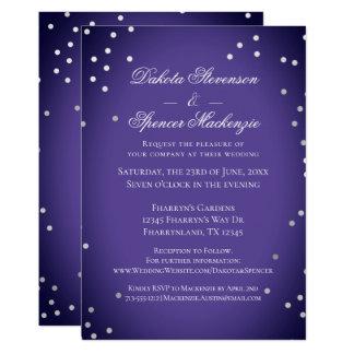 Purple Wedding   Chic Ultra-Violet Silver Confetti Card