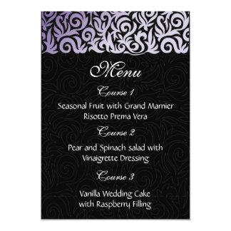 purple  wedding menu 13 cm x 18 cm invitation card