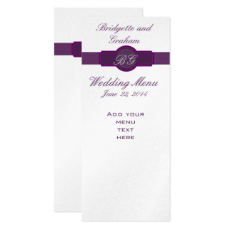 Purple Wedding Menu Cards on Silver Paper 10 Cm X 24 Cm Invitation Card