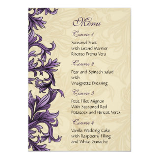 purple wedding menu custom invitations