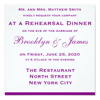 Purple Wedding Rehearsal Dinner Invitations Bow