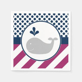 Purple Whale Baby Shower Napkins Disposable Napkins