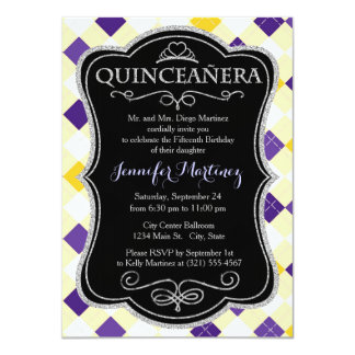 Purple, White, and Yellow Argyle Pattern Personalized Announcement