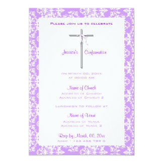 Purple white baptism communion confirmation card