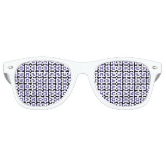 Purple White Black Monogram Check Pattern Retro Sunglasses