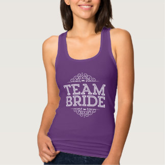 Purple & White Cute Team Bride Wedding Party Gift Singlet