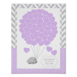 Purple, White Grey Elephant Baby Shower 2 - Guest Poster