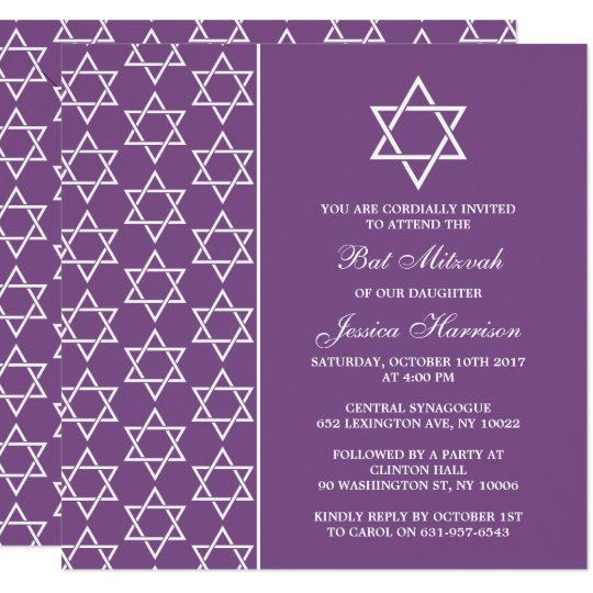Purple & White Jewish Star Of David Bat Mitzvah Card