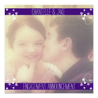 Purple White Photo Collage Engagement Announcement