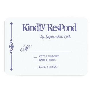 Purple White Typography Wedding RSVP Cards