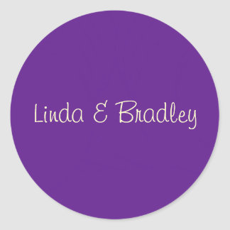 Purple & White Wedding Favor Sticker