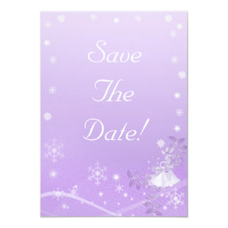 Purple & White Winter Save The Date Wedding 13 Cm X 18 Cm Invitation Card
