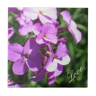 Purple Wildflowers-Love Small Square Tile