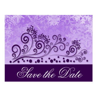 Purple Winter Snowflake Wedding Save the Dates Postcard