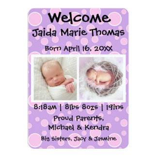 Purple With Pink Dots & Photos Birth Announcement