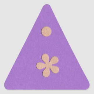 Purple with Yellow Flowers and Dots Design Triangle Sticker