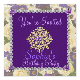 Purple Women's 70th Birthday Invitation Bling