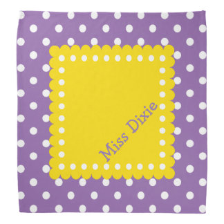 Purple Yellow and White Polka Dot Personalized Bandanna