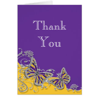 Purple yellow butterfly wedding engagement note card