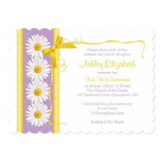 Purple Yellow Shasta Daisy Communion Invitation