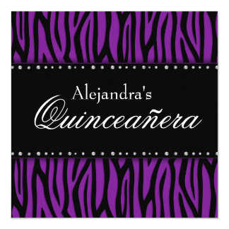 Purple Zebra Diamonds Quinceanera 13 Cm X 13 Cm Square Invitation Card