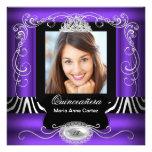 Purple Zebra Photo Quinceanera 15th Birthday Personalized Announcement
