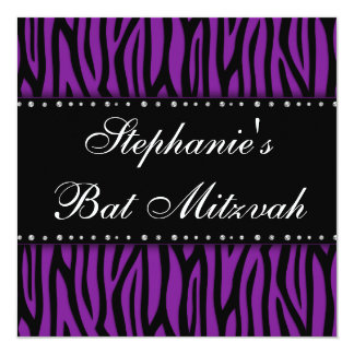 Purple Zebra Printed Diamonds Bat Mitzvah 13 Cm X 13 Cm Square Invitation Card
