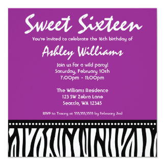 Purple Zebra Sweet 16 13 Cm X 13 Cm Square Invitation Card