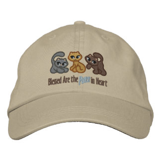 Purr in Heart Embroidered Hats