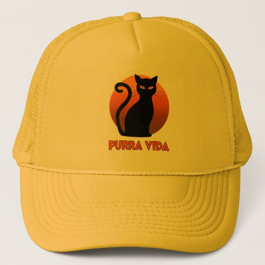 Purring Cat And Sun Purra Vida Pure Life Funny Trucker Hat
