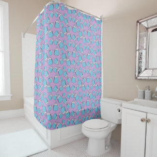 Purses - aqua on violet shower curtain