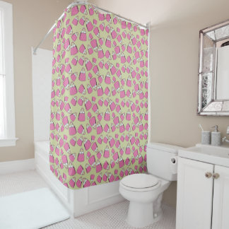 Purses - pink on taupe shower curtain