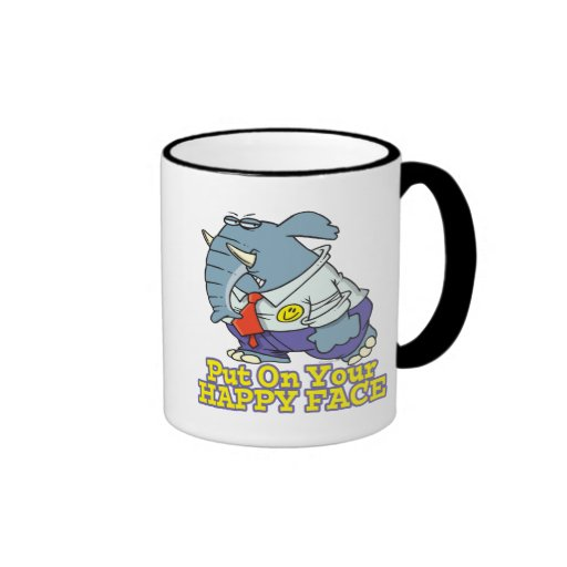 put on your happy face facade elephant coffee mugs