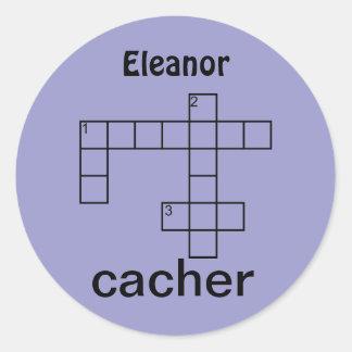 Puzzle Cacher Geocaching Personalized Name Custom Round Sticker