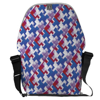 Puzzle Pieces Mostly Red White &Blue Messenger Bag