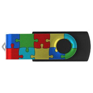 Puzzle Silver, 16 GB, Black Swivel USB 3.0 Flash Drive