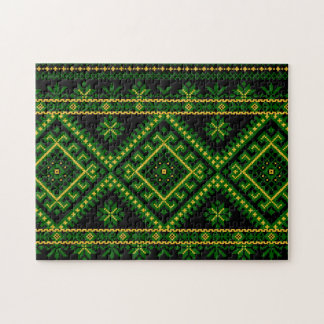 Puzzle Ukrainian Cross Stitch Embroidery Green
