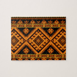 Puzzle Ukrainian Embroidery Orange on Black